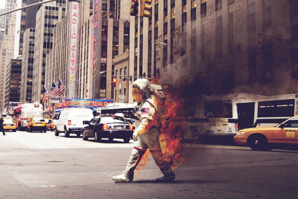 work it out poem image astronaut on fire