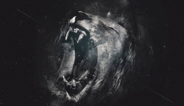Defiance poetry wallpaper of a roaring lion